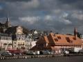 france, région basse normandie, cote fleurie, trouville sur mer, quai fernand moureaux, port, eau, la touques,