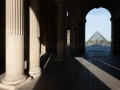 france, région ile de france, paris 1e arrondissement, musee du louvre, passage entre cour de la pyramide et cour carrée, pyramide de ioeh ming pei,